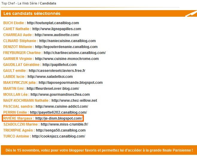 Sélectionnée pour Top chef des blogueurs!!